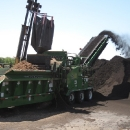 Processing Natural Mulch into Black Dyed Mulch